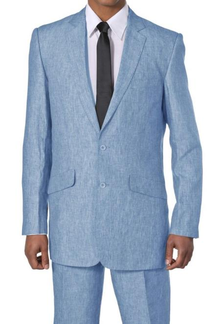 New Men's 2 Piece Luxurious 100% Linen Cheap Priced Business Suits Clearance Sale 2 Buttons Blue
