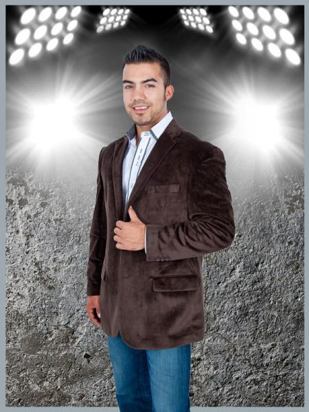 Blazer Coat Mens Stylish 2 Button Sport Jacket Brown Discounted Affordable Velvet ~ Velour Sport coat Blazer
