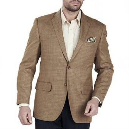 Mens Camel Tweed Authentic Mantoni Brand Solid Suit- High End Suits - High Quality Suits