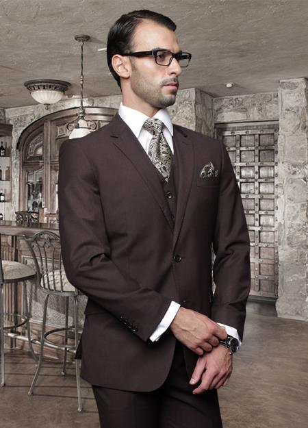 Nice 2 Button Solid Color Brown Mens Suit with a Vest 3 Piece Tapered Slim Fitted Flat Front Pants Wool