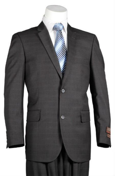 Fitted Trim Fit Windowpane 2 Button Men's Slim Cut Cheap Priced Business Suits Clearance Sale Charcoal