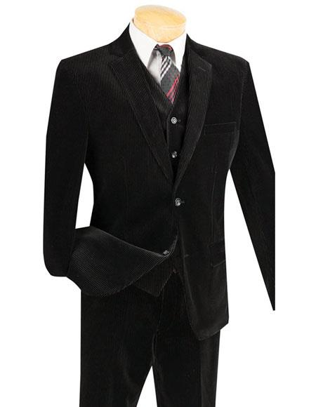 Mens Black Two Buttons Pinstripe ~ Stripe corduroy 2 piece vested suits Flat Front Pants