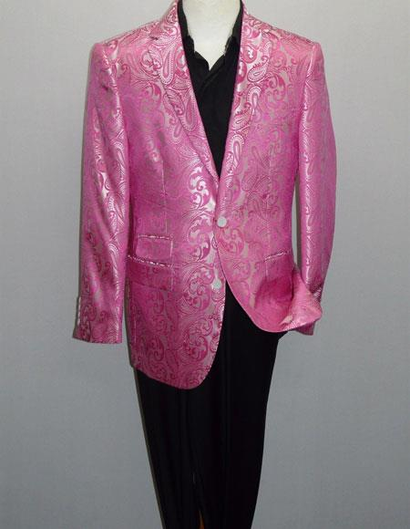 Mens Fuchsia One Ticket Pocket Side Vents Blazer
