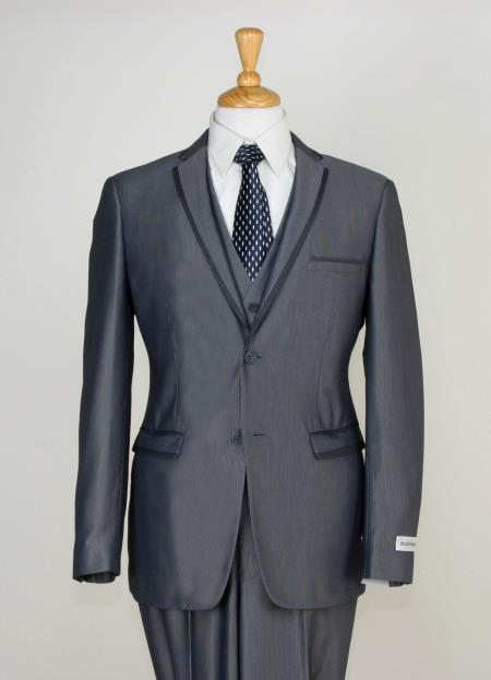 Mens 3 Piece Slim Cut Suit - Contrast Trim & Adjustable Waist Gray