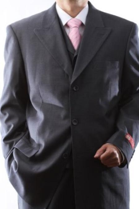 SKU#DAS12 Mens Superior 150s Extra Fine Gray 3 pcs Vested Suits with Peak Lapel