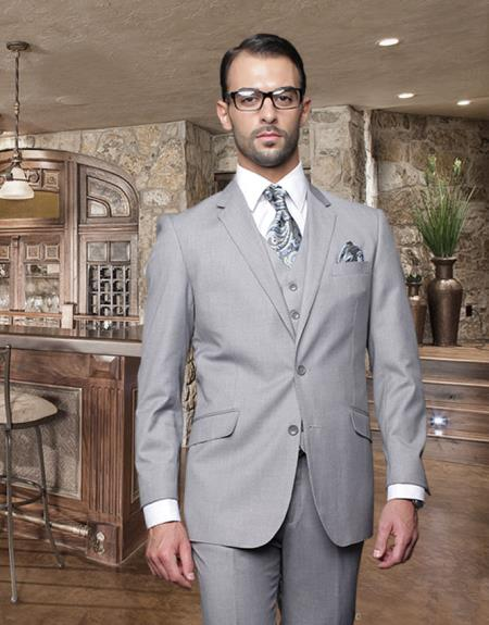 2 Button Light Gray ~ Grey Suit With A Vest Super 150'S Italian Wool Pick Stitched Lapel Slanted Pocket  - Three Piece Suit