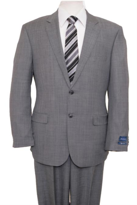 Reg Price $795 Designer Affordable Inexpensive Authentic 100% Wool Suit 2 Button Side Vent Jacket Flat Front Pants Wool Classic Solid Gray