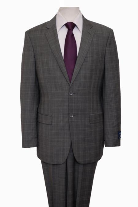 Reg Price Reg Price $795 ZeGarie Authentic 100% Wool Suit 2 Button Side Vent Jacket Flat Front Pants Wool Classic Dark-Gray