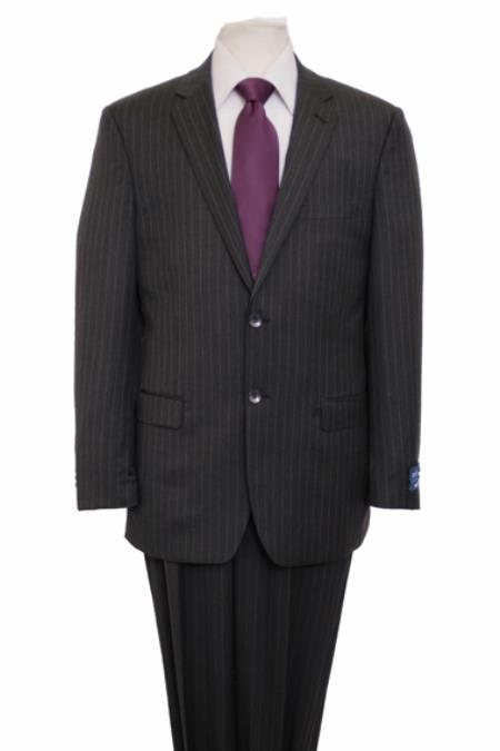 Reg Price $795 ZeGarie Authentic 100% Wool Suit 2 Button Side Vent Jacket Flat Front Pants Pinstripe Dark Gray