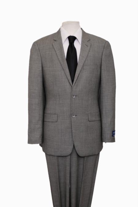 Reg Price $795 ZeGarie Authentic 100% Wool Suit 2 Button Side Vent Jacket Flat Front Pants Glen Plaid Gray