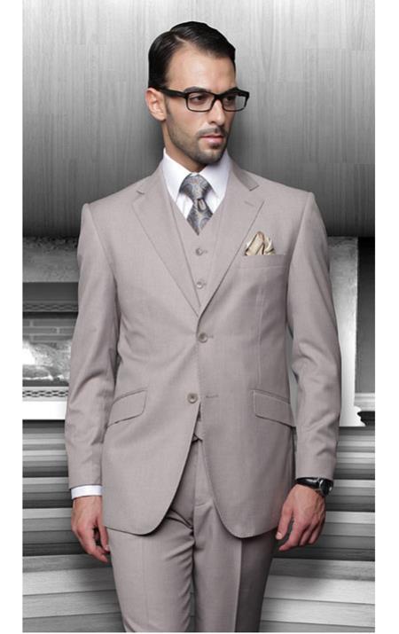 Men's 2 Button Regular Fit Tan ~ Beige 3 Piece Suits