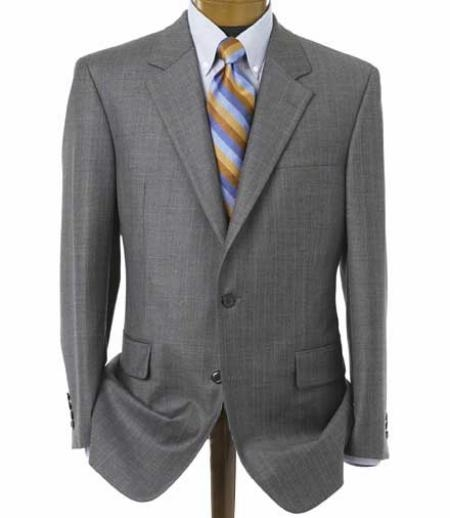 SKU# 904E Mens Medium Gray 2 Button Double Vented Jacket + Flat Front Pants