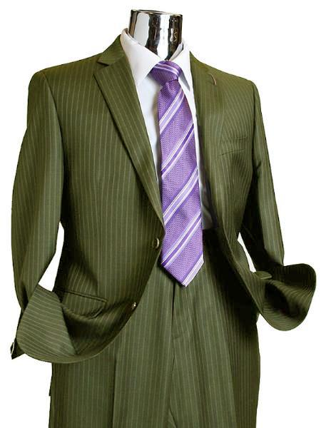SKU#VT381 Mens 2 Button 100% Wool Suit Olive Green Pinstripe ~ Stripe Discounted Online Sale Only