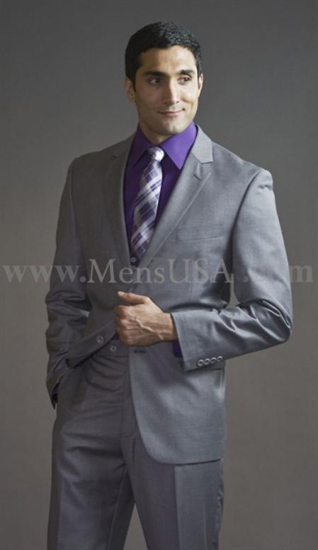 2 Button 3 Piece Light Grey Fitted affordable suit online