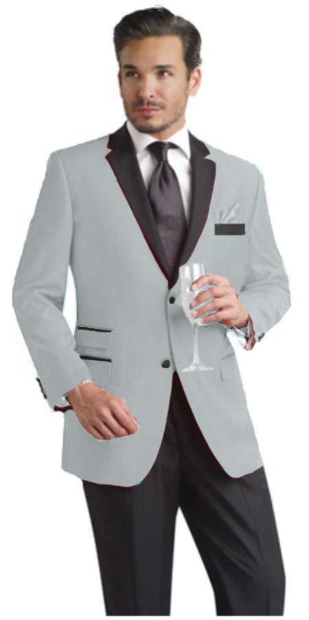 SKU#LKP09 Light Grey ~ Gray Two Button Notch Party Suit & Tuxedo & Blazer w/ Black Lapel 7 days delivery