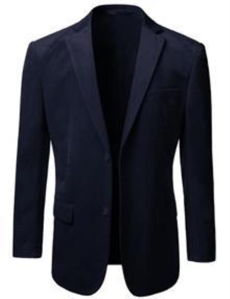 Mens American Regular-Fit 2 Button Velvet Mens Wholesale Blazer  Navy