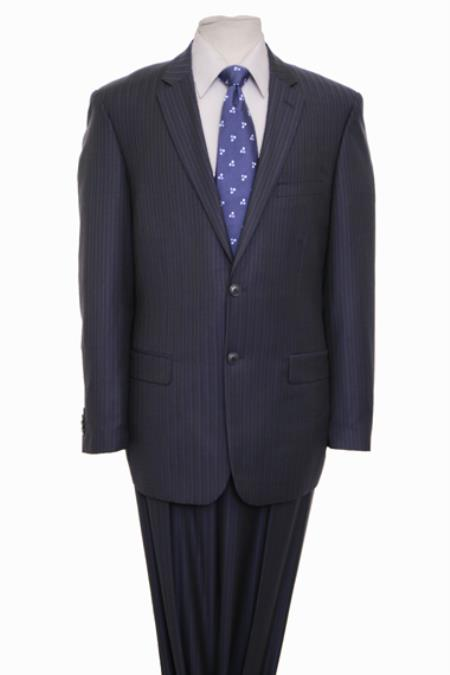 Reg Price $795 ZeGarie Authentic 100% Wool Suit 2 Button Side Vent Jacket Flat Front Pants Wool Classic Dark Navy