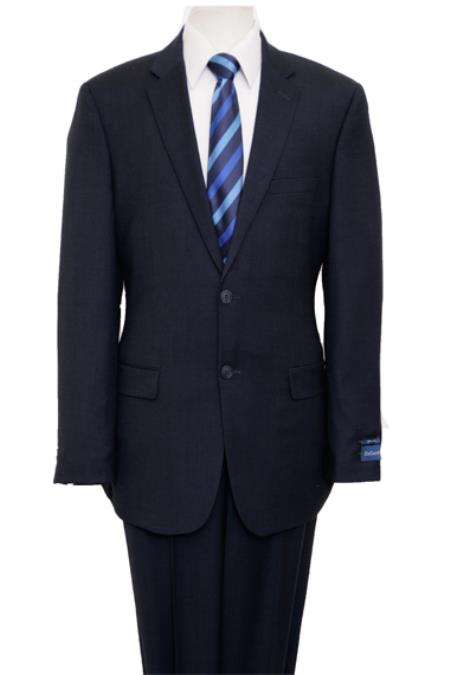 Reg Price $795 Designer Affordable Inexpensive Authentic 100% Wool Suit 2 Button Side Vent Jacket Flat Front Pants Birdseye Dark Navy
