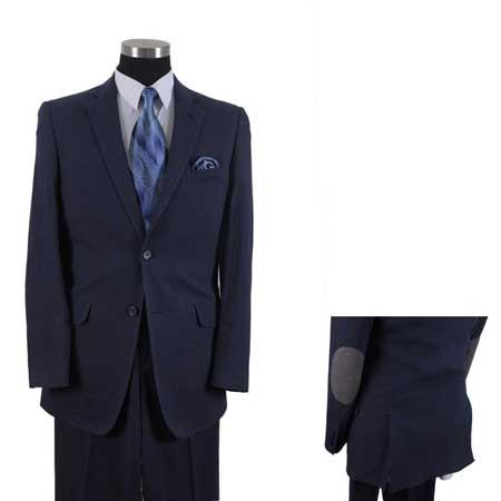Men's Linen Summer Suit or Blazer or Sportcoat 2 Button With Elbow Patch sleeve Dark Navy