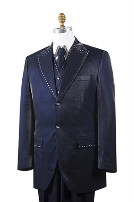 Unique 2 Button Trimmed Pleated Pants Vested 3 Piece Mens Suits Dark Navy Fashion Tuxedo For Men