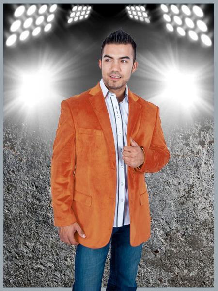 SKU#NAF9 Mens Stylish 2 Button Sport Jacket Orange Discounted Affordable Velvet ~ Velour Sport coat Blazer