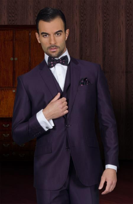 Vested 3 Piece 2 Button Mens Suit And A Vest Plum ~ Eggplant Business Suit