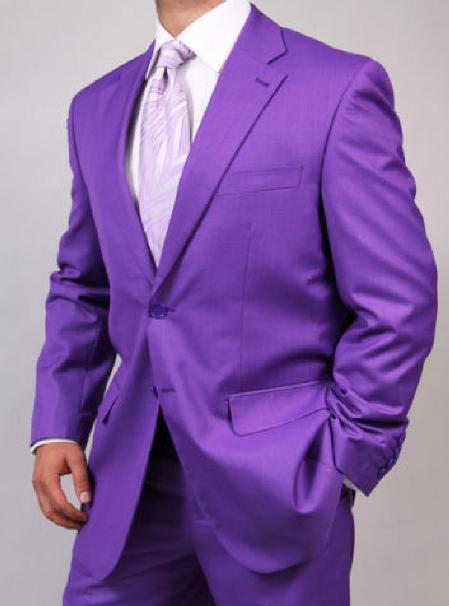 SKU#KA1459 Mens Two Button Purple Suit