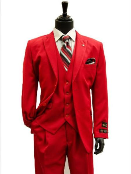 Men's All Season Falcone 3 Piece Vest Designer Classic Dress 2 Button Trendy Red Suit