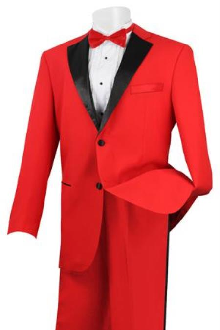 Mens Stylish 2 Button Tuxedo Red and Black