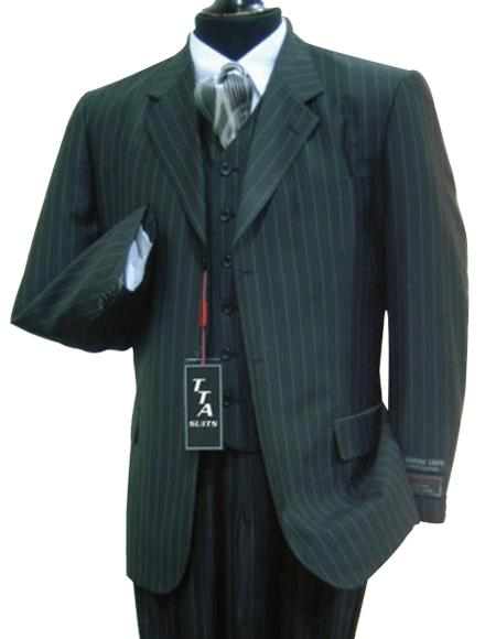 Wide Pinstripe In Charcoal Grey Vest Included Available in 2 buttons 3 ~ Three Piece