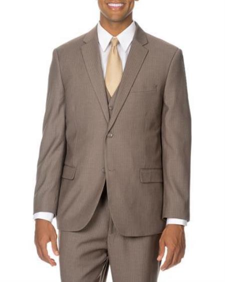 Mens Tan ~ Beige  Pinstripe vested 3 Piece Suit