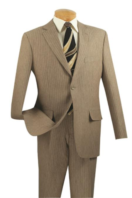 Mens 2 Button Suits Tan ~ Beige