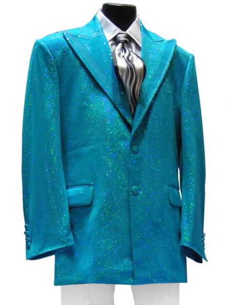 1960s Men's Clothing, 70s Men's Fashion Mens High Fashion 2 PC 2 Button Peak Lapel Jacket  Pants With Glitz Turquoise  Light Blue Stage Party Suit $189.00 AT vintagedancer.com