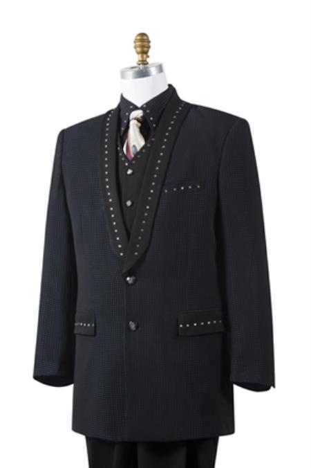 Mens Unique 2 Button Tuxedo Trimmed Pleated Pants Vested 3 Piece Fashion Suit Black - Artistic Stripe ~ Pinstripe