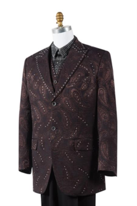 Mens Unique Brown Paisley Blazer Looking 2 Button Tuxedo Trimmed Pleated Pants Vested 3 Piece Fashion Suits