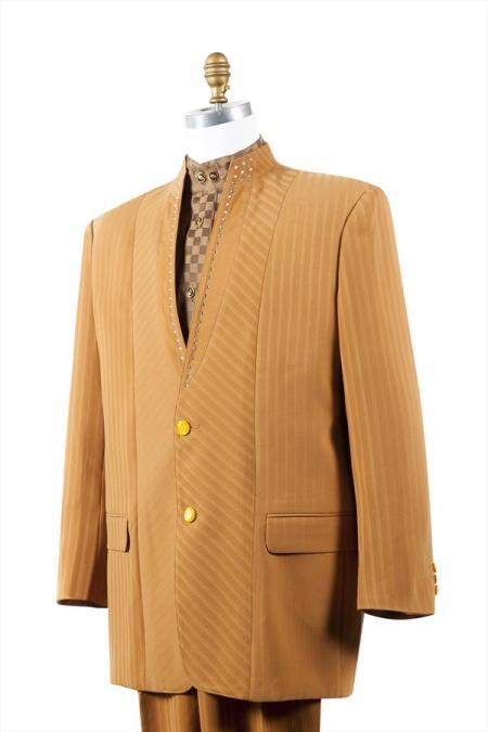 Trimmed Pleated Pants Vested Camel ~ Gold Unique 2 Button Tuxedo 3 Piece Mens Suits