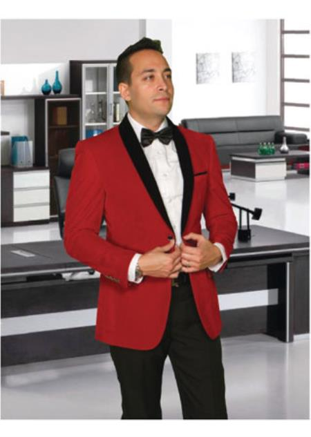 Mens Modern Fit 2 Button Shawl Lapel Red Velvet Jacket