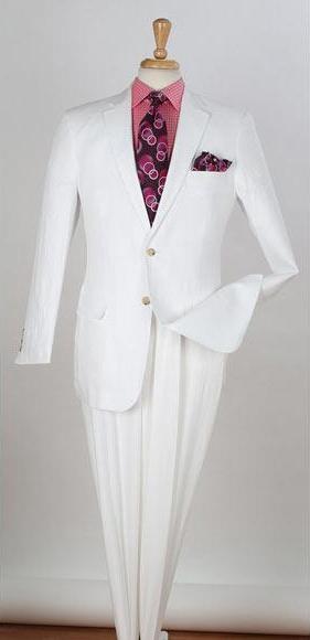 Mens 2 Piece  Two Buttons Side Vents Regular Fit Linen White Suit