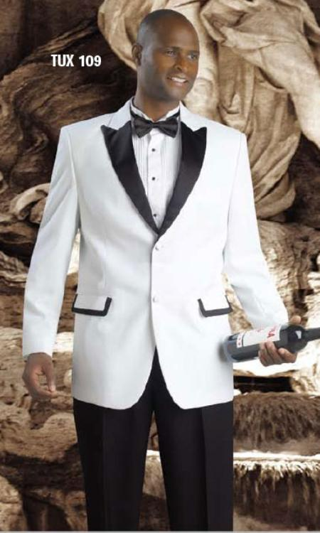 Men's White Tuxedo Fashion Dress Suit With Free Black Pants