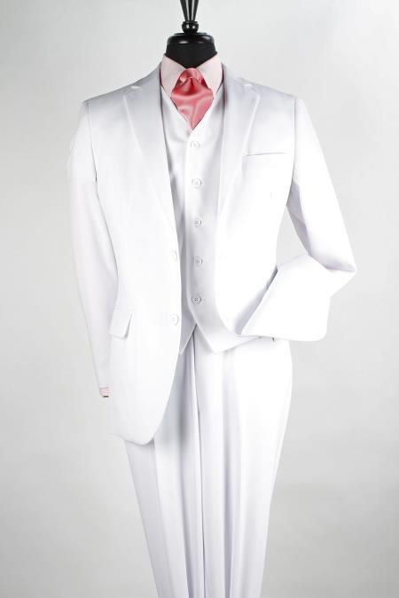 Mens 3 Piece Poplin Discount three piece suit - Pure White