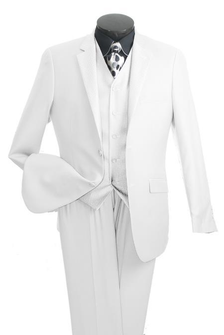 High Fashion Men's 2 Button White Suit - Three Piece Suit