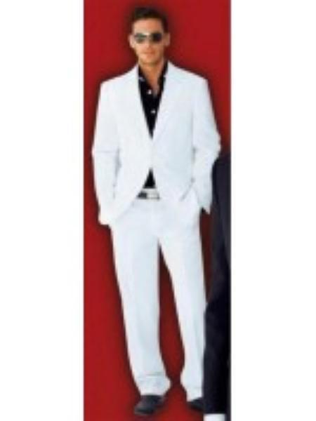 Men's 2 Button Wool Blend Fabric Stylish White Suit