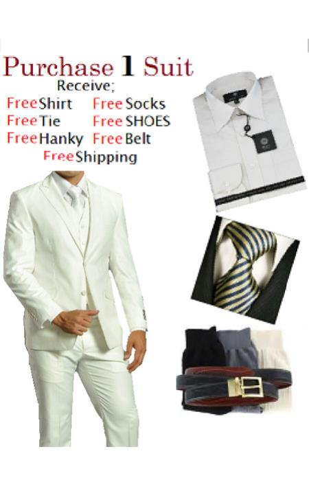 SKU#ES6532 Mens Two Button Solid White Tuxedo Suit - Dress Shirt, Free Tie & Hankie Package