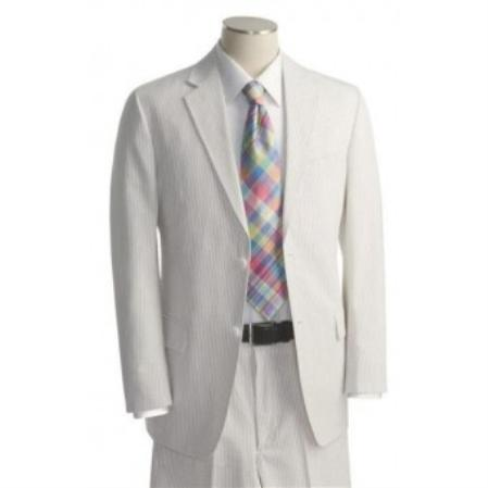 Mens 2 Button White Tone on Tone Suit