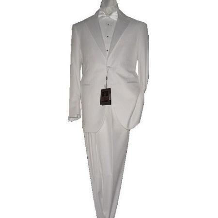SKU#KA1472 White 2 Button Tuxedo Super 150s Fabric suit