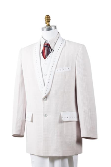 Men's Unique 2 Button Trimmed Pleated Pants Vested 3 Piece Sharkskin Fashion Suit White - Rhinestone Fashion Tuxedo For Men