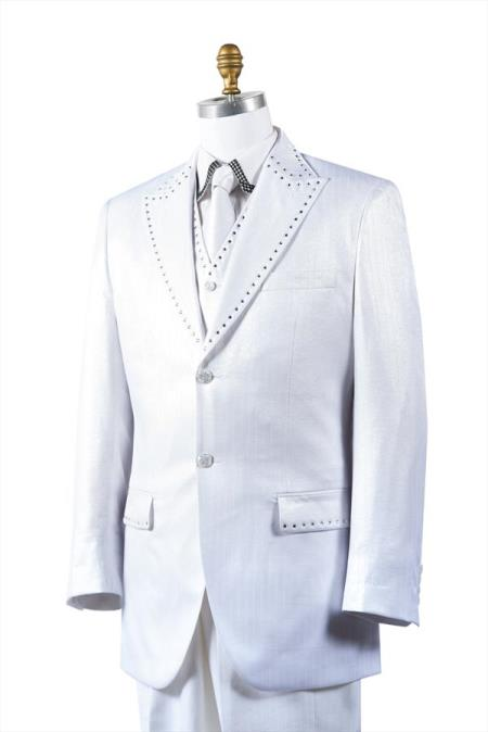 White Unique 2 Button Poly-Nylon Semi-Sheen Suits