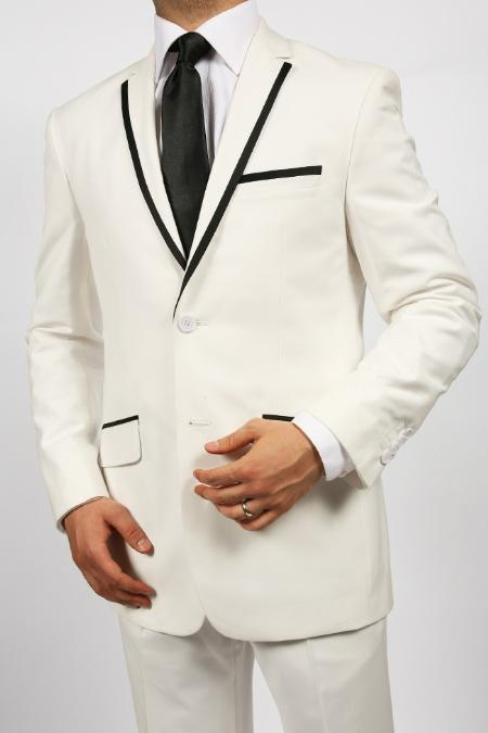 2 Button White Suit Jacket & Pants With Black Trim Lapel Fashion Tuxedo For Men