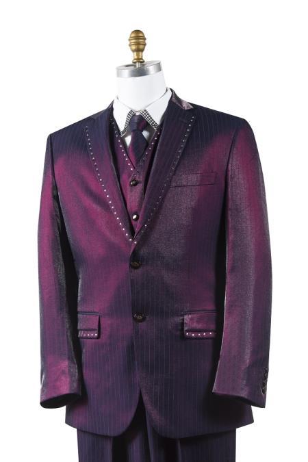 Wine Trimmed Fashion Tuxedo For Men
