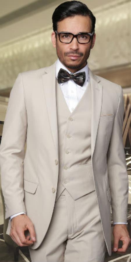 Men's 2 Button Vested 3 Pieces 3PC Slim Fitted Cut Skinny Lapel Wool Feel Poly Rayon Suit Tan ~ Beige (Buy Wholesale 10PC&UP of this for $90)